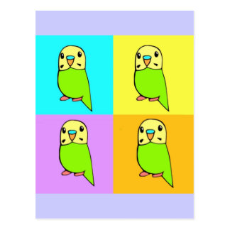 Budgie Pop Art Postcard