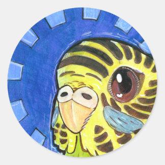 Budgie Sunburst, 1½ inch (sheet of 20) Classic Round Sticker
