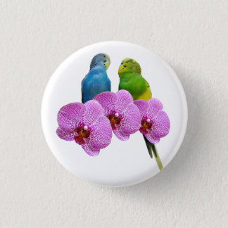 Budgie with Purple Orchid 1 Inch Round Button
