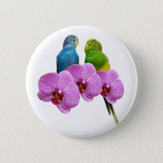 Budgie with Purple Orchid 2 Inch Round Button