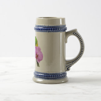 Budgie with Purple Orchid Beer Stein