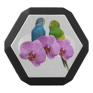 Budgie with Purple Orchid Black Bluetooth Speaker