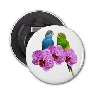 Budgie with Purple Orchid Bottle Opener