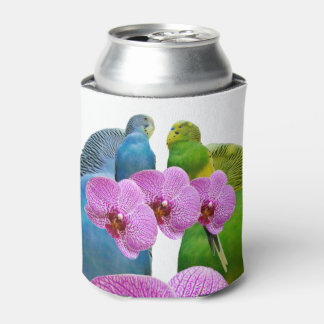 Budgie with Purple Orchid Can Cooler