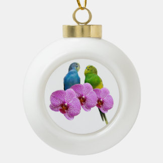 Budgie with Purple Orchid Ceramic Ball Christmas Ornament