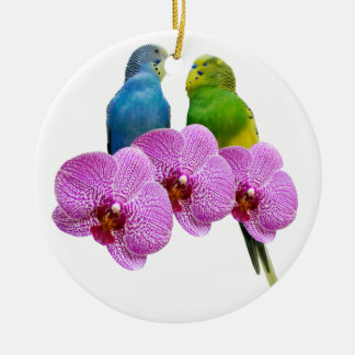 Budgie with Purple Orchid Ceramic Ornament