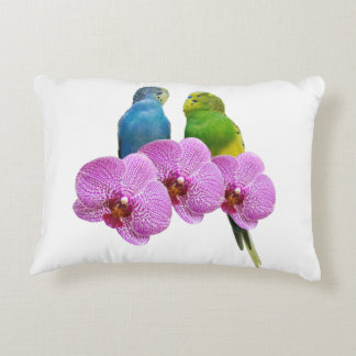Budgie with Purple Orchid Decorative Pillow