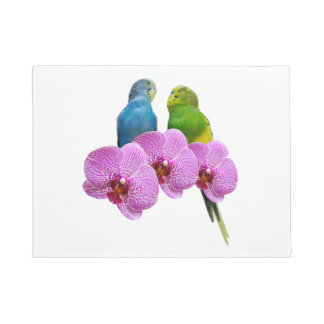Budgie with Purple Orchid Doormat