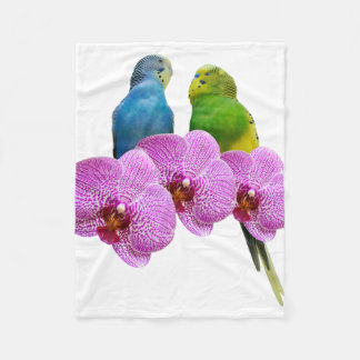 Budgie with Purple Orchid Fleece Blanket
