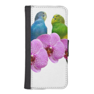 Budgie with Purple Orchid iPhone SE/5/5s Wallet Case