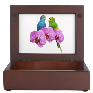 Budgie with Purple Orchid Keepsake Box
