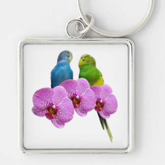 Budgie with Purple Orchid Keychain