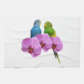 Budgie with Purple Orchid Kitchen Towel