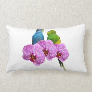Budgie with Purple Orchid Lumbar Pillow