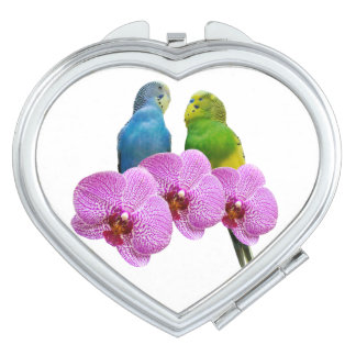 Budgie with Purple Orchid Mirror For Makeup