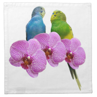 Budgie with Purple Orchid Napkin