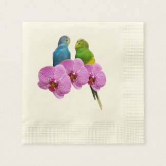 Budgie with Purple Orchid Paper Napkin