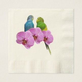 Budgie with Purple Orchid Paper Napkins