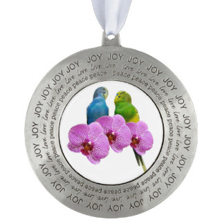 Budgie with Purple Orchid Pewter Ornament
