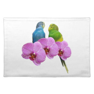 Budgie with Purple Orchid Placemat