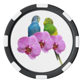 Budgie with Purple Orchid Poker Chips