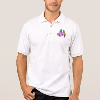 Budgie with Purple Orchid Polo Shirt