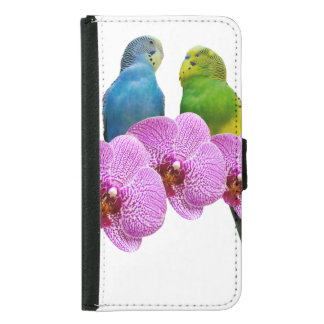 Budgie with Purple Orchid Samsung Galaxy S5 Wallet Case