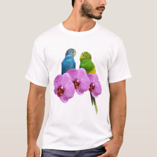 Budgie with Purple Orchid T-Shirt