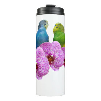Budgie with Purple Orchid Thermal Tumbler