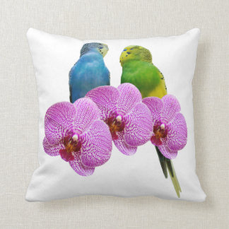 Budgie with Purple Orchid Throw Pillow