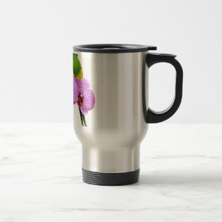 Budgie with Purple Orchid Travel Mug