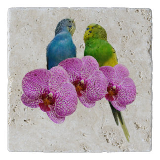 Budgie with Purple Orchid Trivet