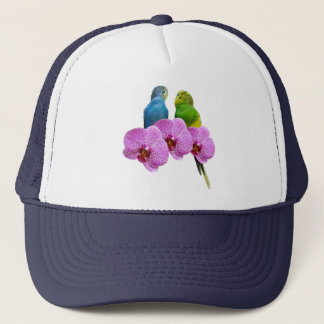 Budgie with Purple Orchid Trucker Hat