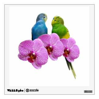 Budgie with Purple Orchid Wall Sticker