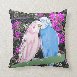 Budgies and Pinky Mauve Bougainvillea Throw Pillow