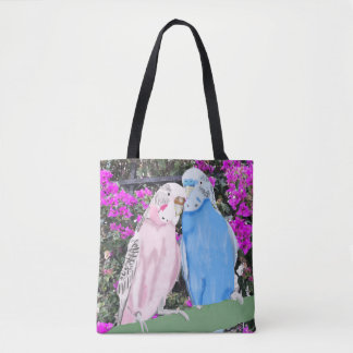 Budgies and Pinky mauve Bougainvillea Tote Bag