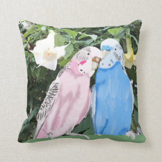 Budgies and White Angel Trumpet Flowers Throw Pillow
