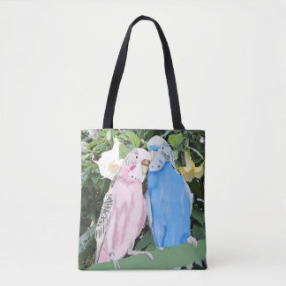Budgies and white Angel Trumpet Flowers Tote Bag