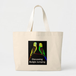 Budgies discussing Budgie Jumping Large Tote Bag