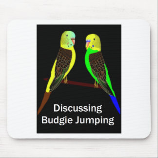 Budgies discussing Budgie Jumping Mouse Pad