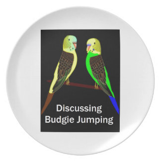 Budgies discussing Budgie Jumping Party Plate