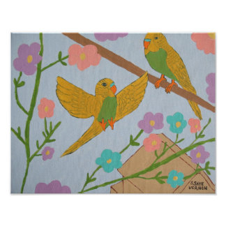 Budgies (Fly Free) -14x11 Poster