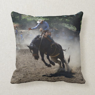 Budking Bronco And Rider Throw Pillow
