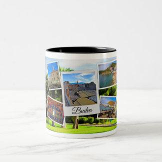 Budva Montenegro Collage Two-Tone Coffee Mug