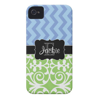 Bue Green Dual Pattern monogrammed iPhone4/4s case