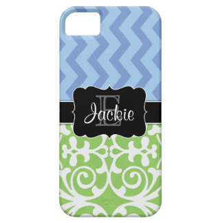 Bue Green Dual Pattern monogrammed iPhone5 case
