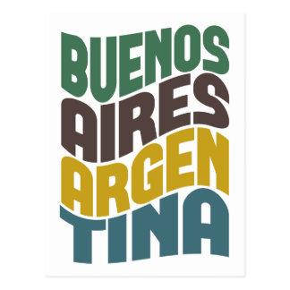 Buenos Aires Argentina Retro Wave Postcard