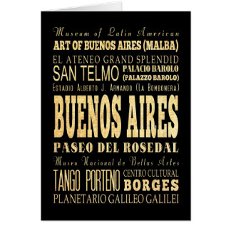 Buenos Aires City of Argentina Typography Art Card
