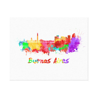 Buenos Aires skyline in watercolor Canvas Print