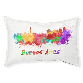Buenos Aires skyline in watercolor Pet Bed